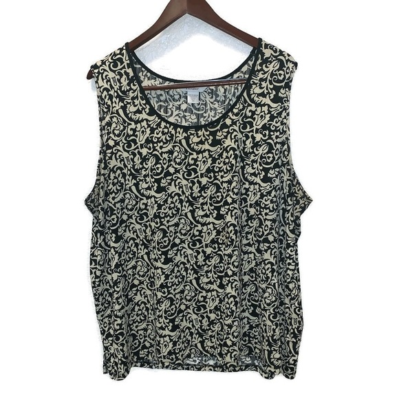 TanJay Tops - TanJay black & beige floral stretchy tank